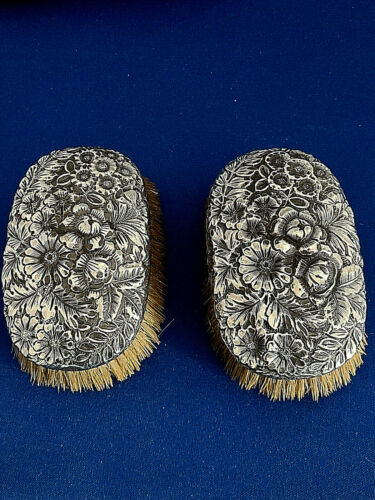 Pair Antique Gorham Sterling Silver Floral Repousse Natural Bristle Brushes