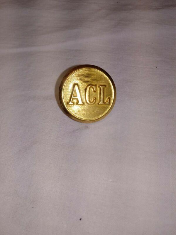 VTG Waterbury Co. Atlantic Coast Line Gold Railroad Railroad Uniform Button.