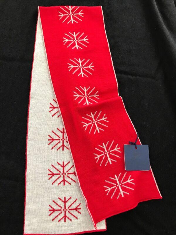 "Il Trenino (Italy) NWT 100% Wool Red/Grey Reversible Snowflake Scarf 6 1/2""x40"""