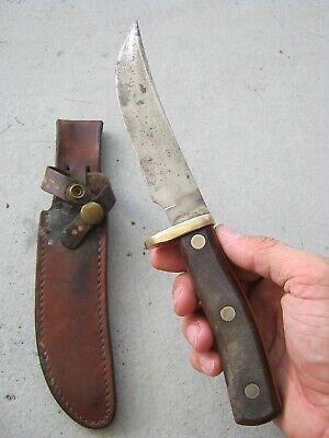 "VINTAGE OLD TIMER SCHRADE WALDEN 165 USA DROP POINT 4.5"" FIXED BLADE KNIFE GOOD+"