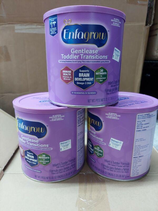 3x Enfagrow Gentlease Toddler Transitions Powder Formula 20oz, exp 09/2022