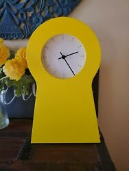 IKEA PS 1995 YELLOW SHELF KEY HOLE SHAPE WALL CLOCK STORAGE 21603.