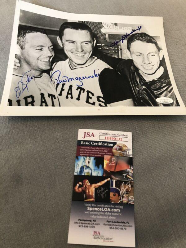 Autographed Bill Mazeroski Harvey Haddix Elroy Face 8x10 Photo JSA Signed