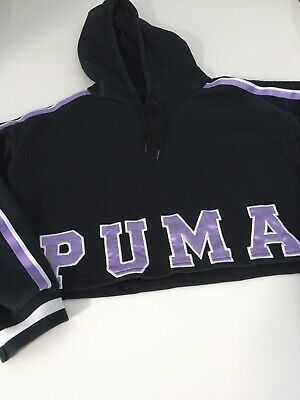 Womens Puma Black Cropped Jumper / Hoodie Size 8