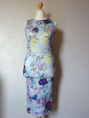 Hope & Ivy All Over Floral Open Back Pencil Dress Size 10 Uk BNWT RRP £59 Blue