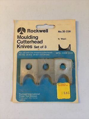 Rockwell Moulding Cutterhead Knives Set Of 3 - 34 Bead No. 35-238 New