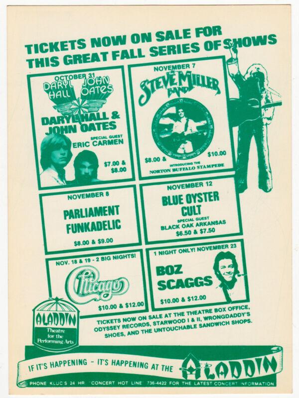 HALL & OATES Blue Oyster Cult PARLIAMENT FUNKADELIC 1977 Vegas Concert Handbill