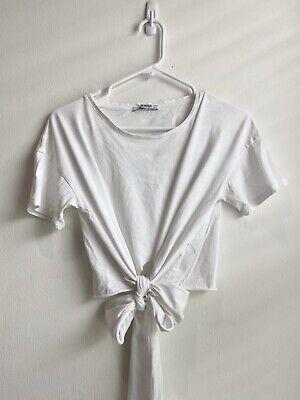 Zara White Front Tie T Shirt Size Small