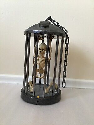 Gemmy Skeleton Cage Halloween Animated Decoration Lights/Sounds Motion Activated