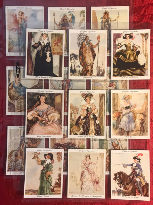 1937 PLAYER-FAMOUS BEAUTIES-L/25 CARD SET-CLEOPATRA-POCAHONTAS & MORE-EXCELLENT