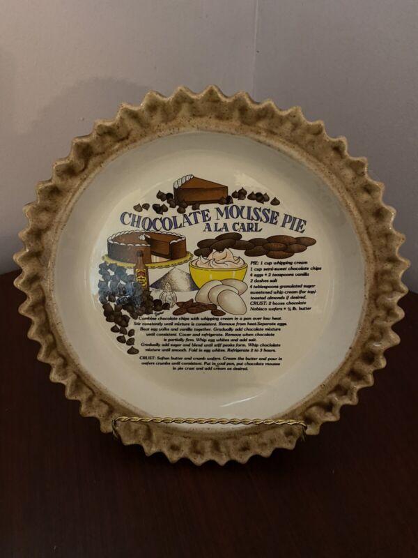 Vintage Handpainted  Hershey Chocolate Mousse Pie A La Carl Pie Dish