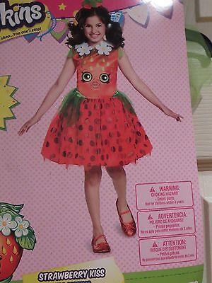 Shopkins Girls Halloween Costume STRAWBERRY KISS Tutu Dress Headband Medium 8-10 - Girl Kiss Halloween Costumes
