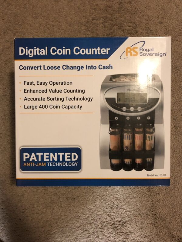 Royal Sovereign Electric Digital Coin Counter 2 Row Model: FS-2D Anti Jam