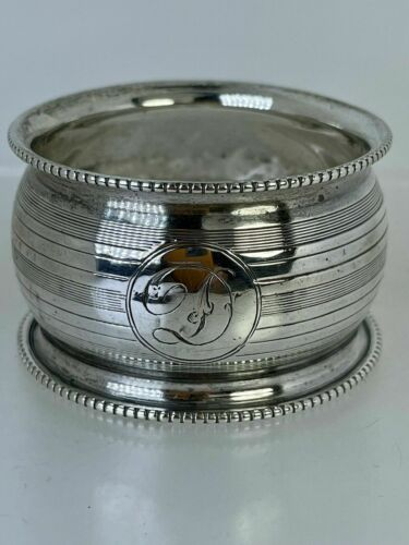 """Antique English Sterling Silver Napkin Ring """"D"""" initial engraving d. 1923"""