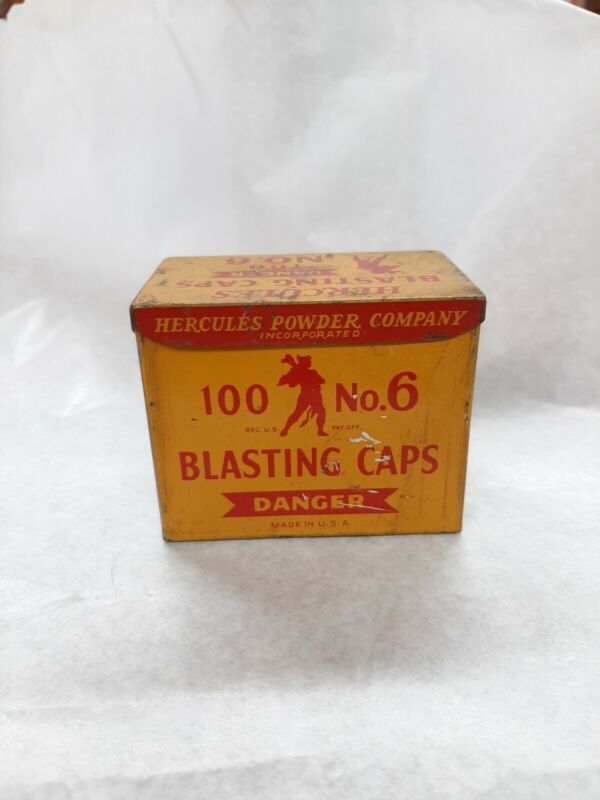 Vintage HERCULES no. 6 Round rectangular  Blasting Cap Tin