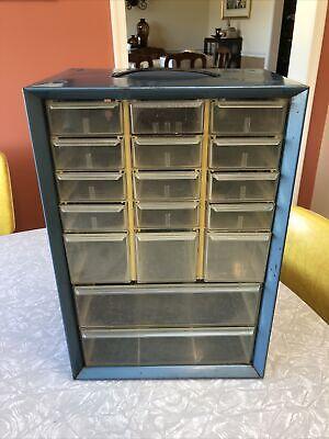 Vintage 17 Drawer Blue Metal Akro Mils Small Parts Storage Organizer