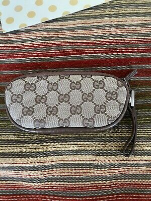 Vintage GUCCI Monogram GG & LEATHER Eye Glass SUNGLASS COSMETIC Case POUCH