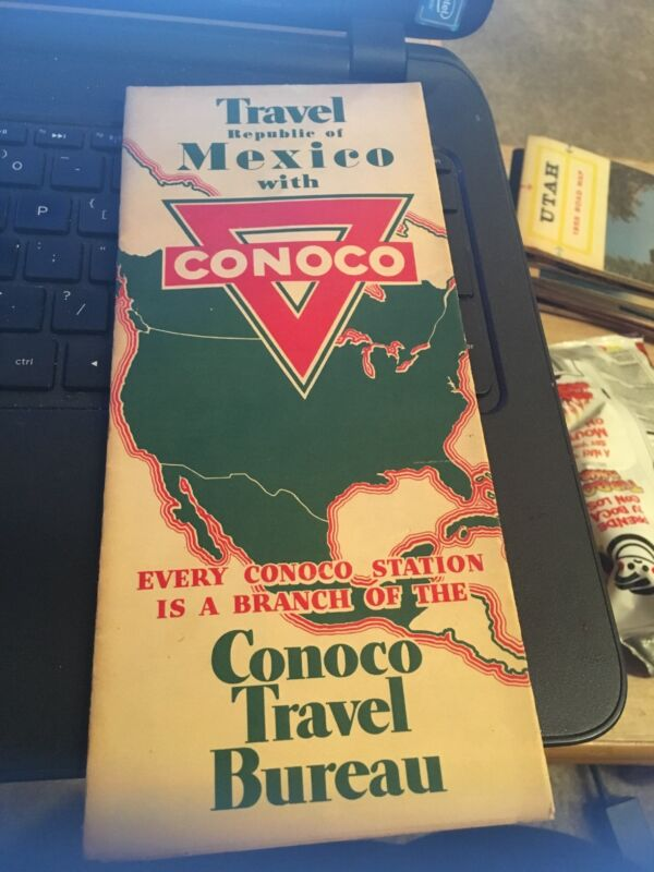 Vintage Map-Travel Mexico with Conoco , Gousha