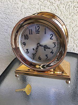"Antique Chelsea Ship's Brass Ball Foot Mantel Clock Ca. 1916, 6"" Face,Restored"