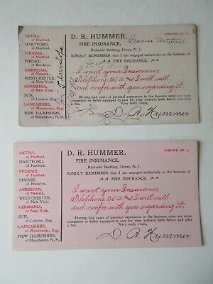 vintage lot of 2 - D.R. Hummer Fire Insurance Ink Blotter Card