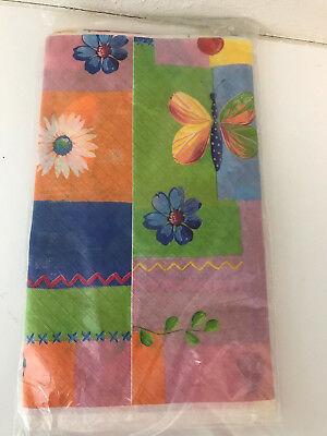 American Greetings Nature's Collage Flowers Floral Paper Tablecover 54 x 96 NEW