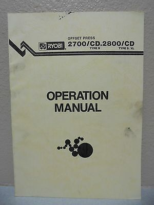 Ryobi Offset Press 2700cd 2800cd Operation Manual
