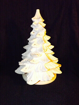 White Vintage Hard Plastic Blow Mold Peg Light Table Top Christmas Tree