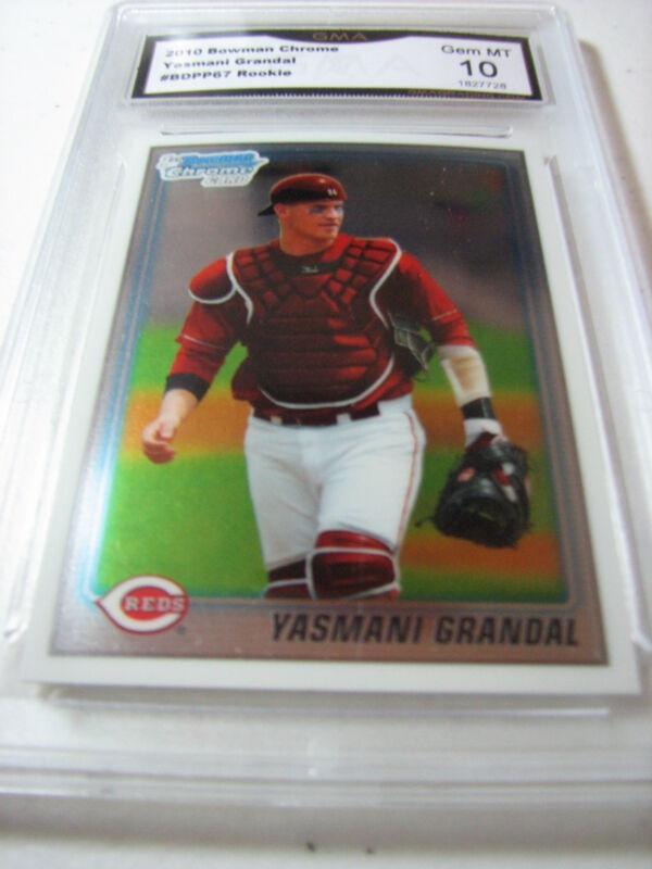 YASMANI GRANDAL REDS DODGERS 2010 BOWMAN CHROME ROOKIE RC # BDPP67 GRADED 10