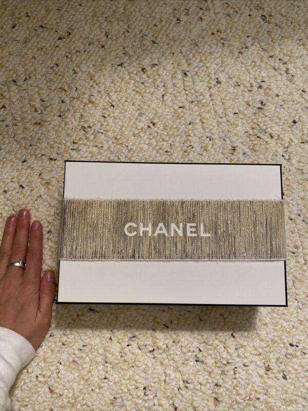 Chanel Authentic White Gift Box Set Tissue Paper Receipt Holder Packaging Set