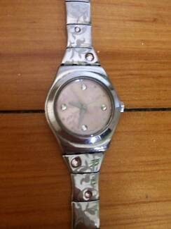 Swatch Women's or Girl's Silver Watch with Pink Jewels
