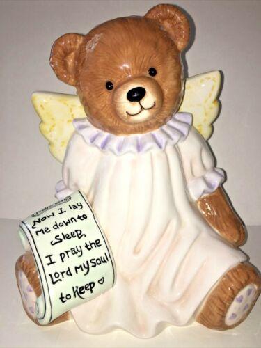 "Roman INC Teddy Bear Angel W/ Night Prayer List Ceramic Piggy Money Bank 8""Tall"