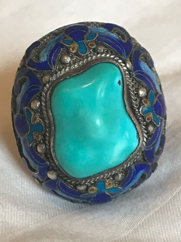 ANTIQUE CHINESE EXPORT STERLING SILVER ENAMEL TURQUOISE RING SIZE 9 ADJUSTABLE