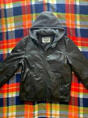 Levi's Black Faux Leather Biker Style Lined Jacket With Hood Medium