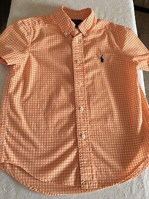 Ralph Lauren Boy Button Shirt Size 5 (Orange & White Checker)