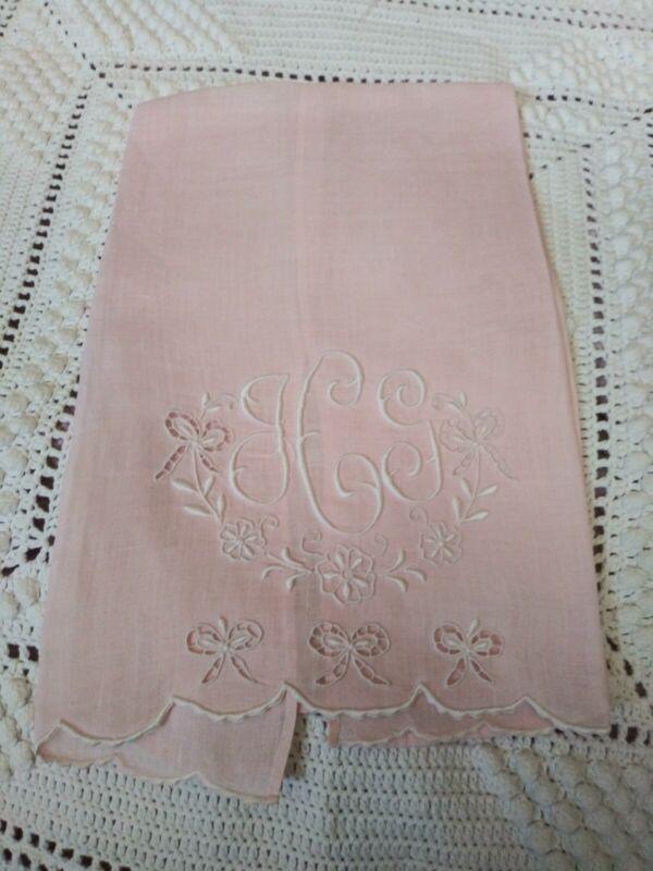 """Beautiful Madeira Bow Cutwork & Embroiderd Fine Pink Linen Hand Towel 20 x 13"""""""