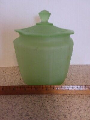 Anchor Hocking PRINCESS Cookie Jar with Lid Green Frosted Depression -