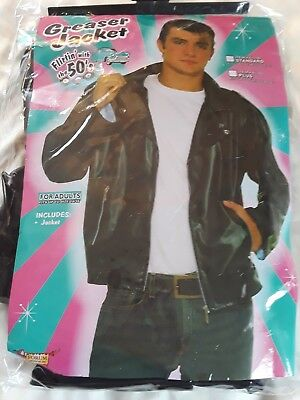 Greaser Jacket 1950s Faux Leather Black Fonz Biker Costume Halloween Mens
