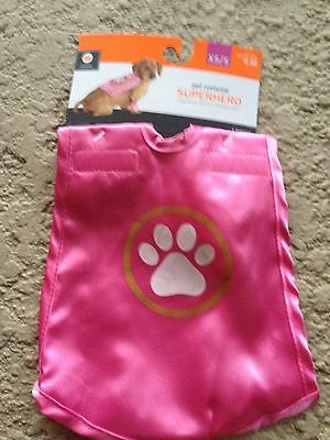 New ! Pet Halloween Costumes Cat Dog Costume Pink Super Hero XS/S