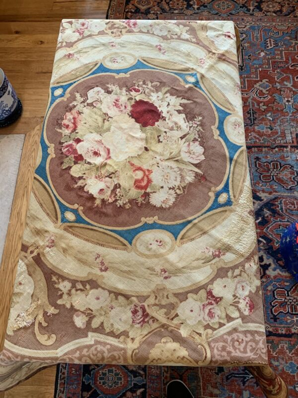 Aubusson Style Printed On Linen Textile/tablecloth