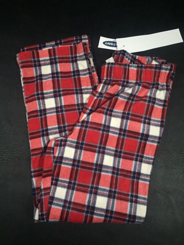 Old Navy Boys Fleece Red/White plaid Sleep Pajama Pants Sz S (6-7) NWT