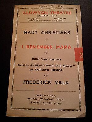 1948 Aldwych Theatre programme I REMEMBER MAMA (Mady Christians, Frederick Valk)