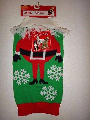 Christmas Holiday Time Simply Dog UGLY SWEATER Knit Red Santa Claus Size XL, XXL (Xl Xxl Hund Kostüme)
