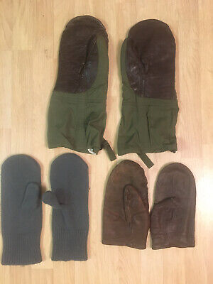Vintage U.S. Army Air Force A-12 Mittens N-3B Mitten Liners N2 Leather Mittens