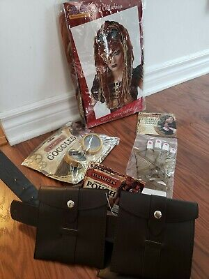 Steampunk Costume Accessories Lot Of 4 Belt Wig Gloves Goggles NIP