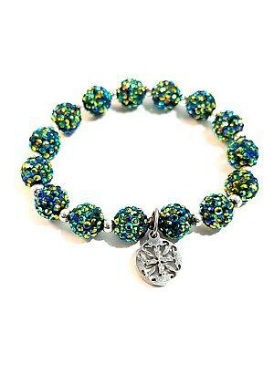 Rustic Cuff Crystal Green Stretch Elastic Bracelet Sparkles