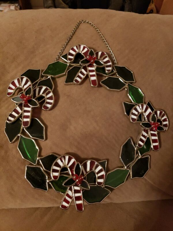 """9"""" stained glass WREATH w/ CANDY CANES christmas holiday"""