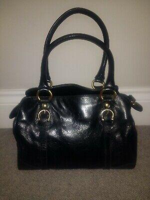 Black Leather Vintage Handbag. 70's Style.