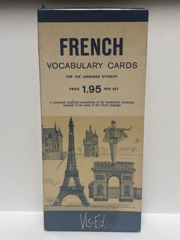 Vintage VIS-ED FRENCH Vocabulary Cards 1000 Language Flashcards ~ SO CHARMING!