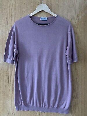 Mens John Smedley Dusky Pink Round Neck Short Sleeve Jumper - Large