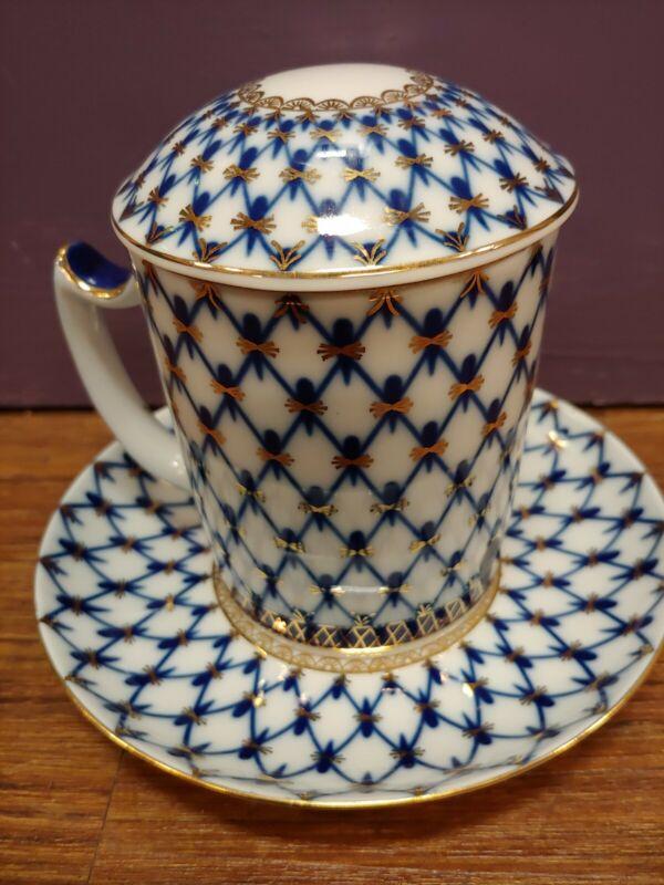 3pc Authentic Russian Lomonosov St Petersburg Lid Mug Saucer Cobalt Net Coffee